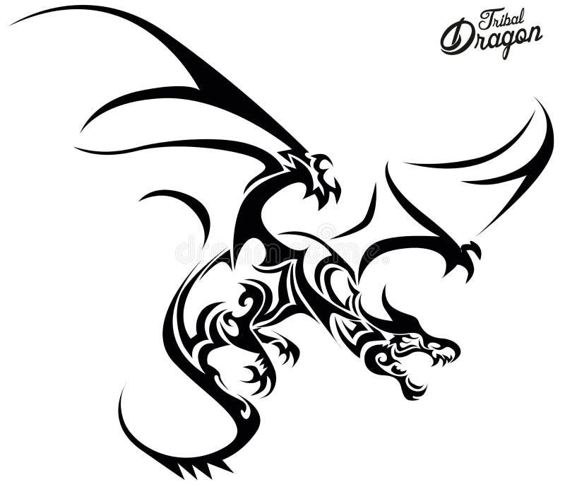 Dragão tribal ilustração royalty free