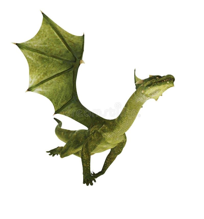 Dragão verde para fora ilustração royalty free