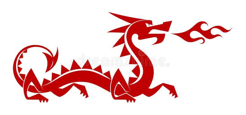 Dragão vermelho do piso ilustração do vetor