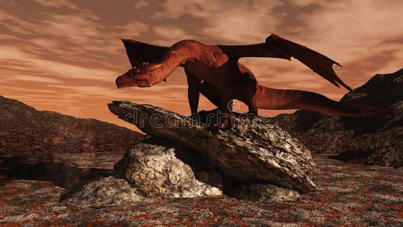 Dragão vermelho em um fluxo de lava ilustração royalty free