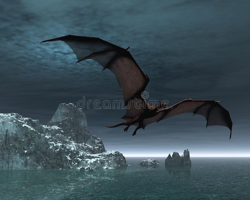 Dragão vermelho na noite ilustração do vetor