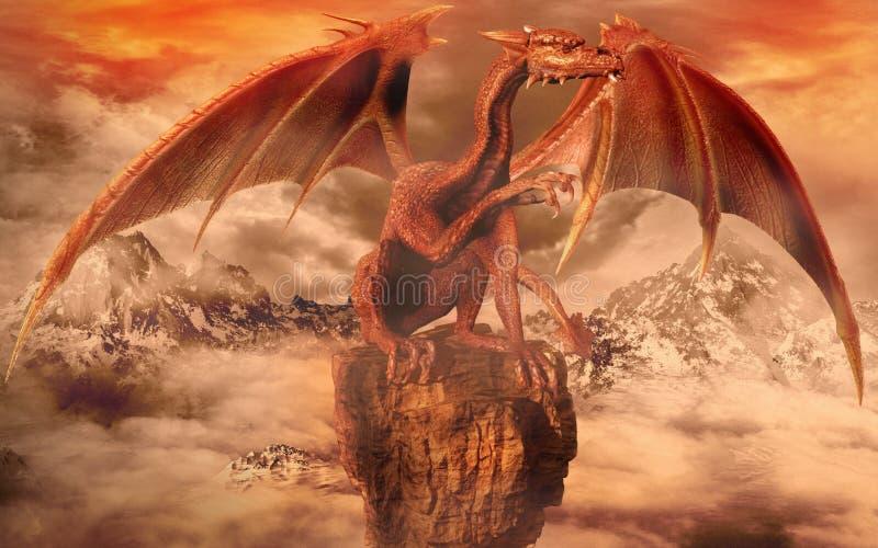 Dragão vermelho sobre uma rocha