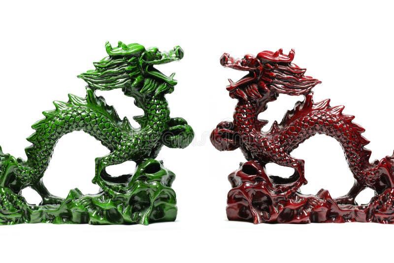 Dragón afortunado verde y rojo fotos de archivo