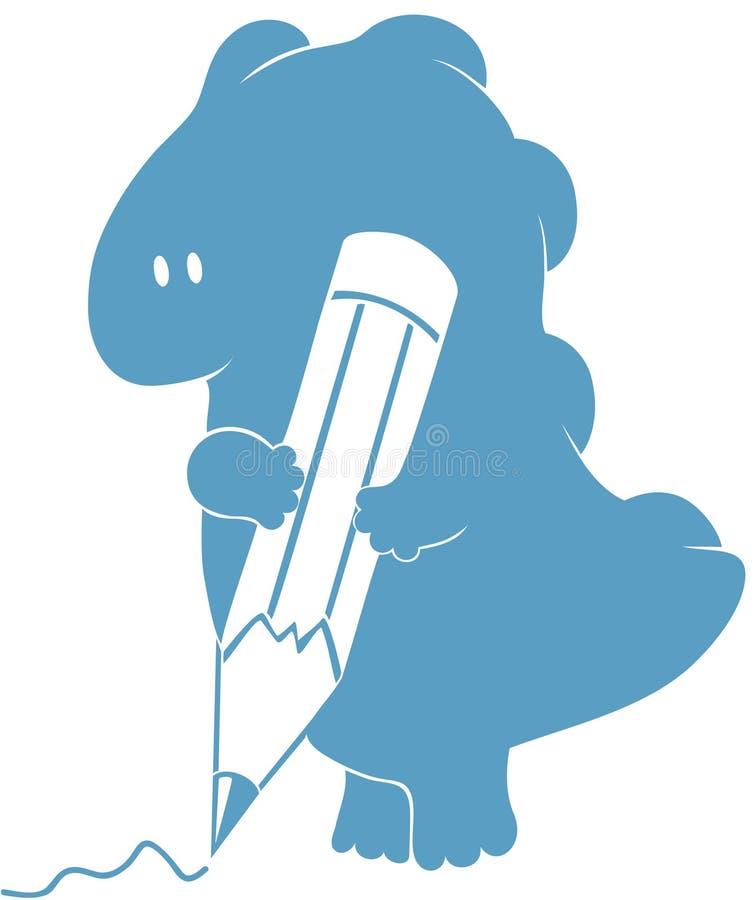 Dragón amistoso precioso con el lápiz Silueta aislada de di stock de ilustración