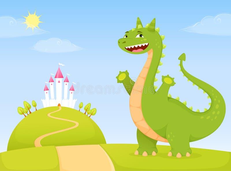Dragón amistoso que le acoge con satisfacción al reino del cuento de hadas stock de ilustración