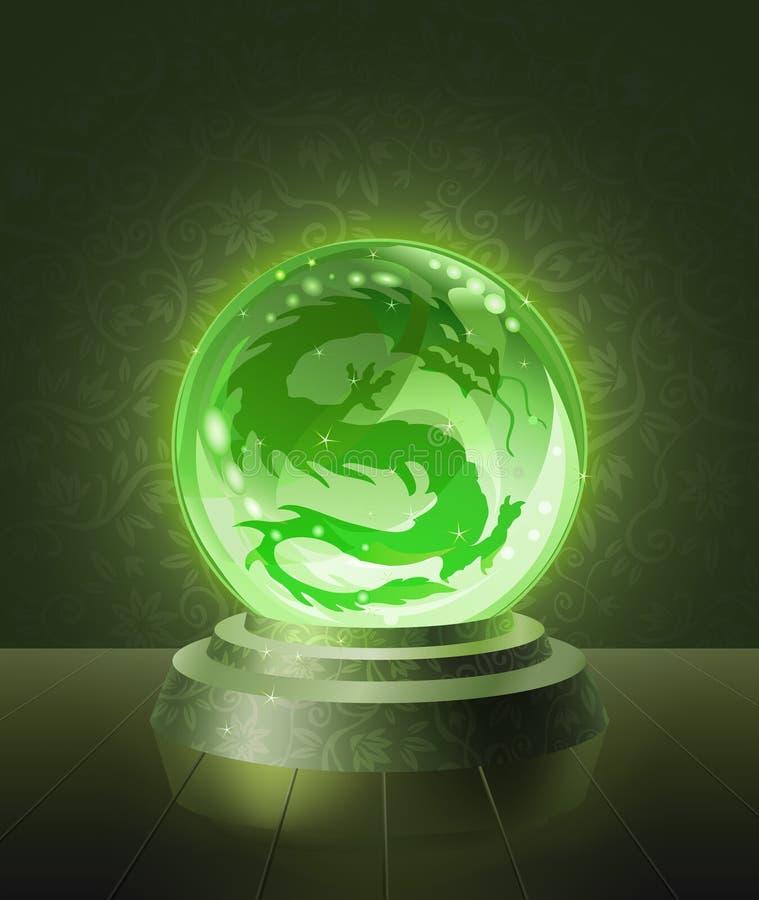 Dragón asiático dentro de la bola scrying cristalina ilustración del vector