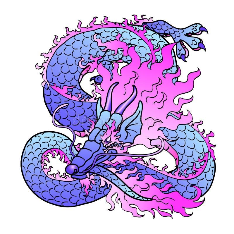 Dragón asiático violeta juguetón en blanco stock de ilustración