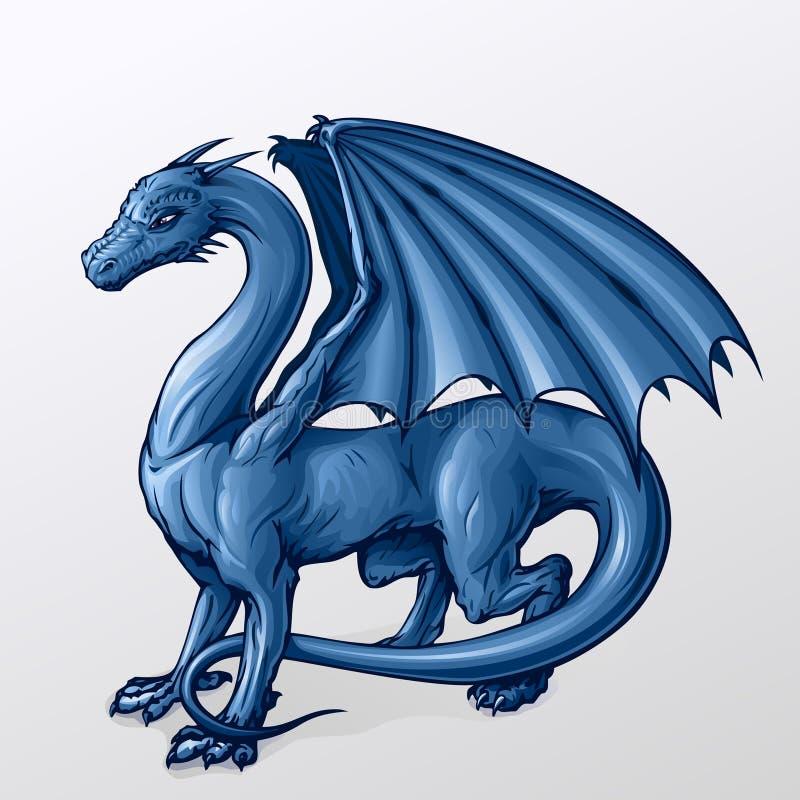 Dragón azul ilustración del vector