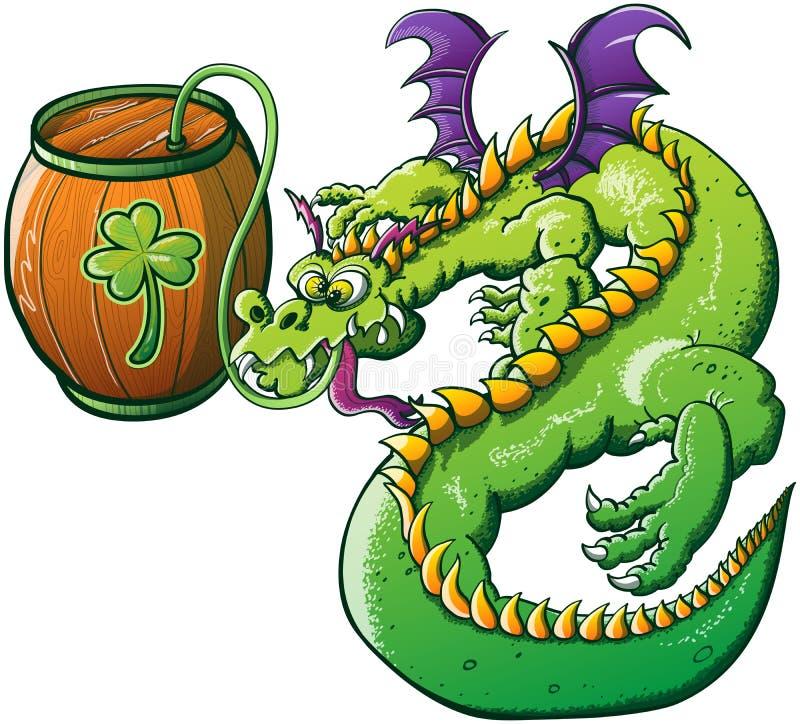 Dragón bebido día de Patricks del santo stock de ilustración