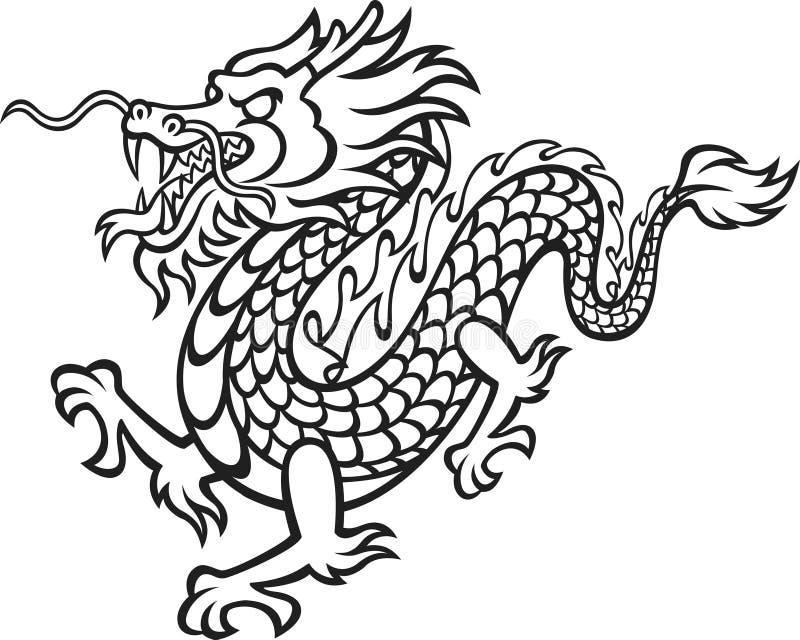Dragón blanco y negro fotos de archivo