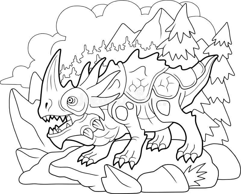 Dragón carnívoro enojado, libro de colorear, graciosa ilustración libre illustration