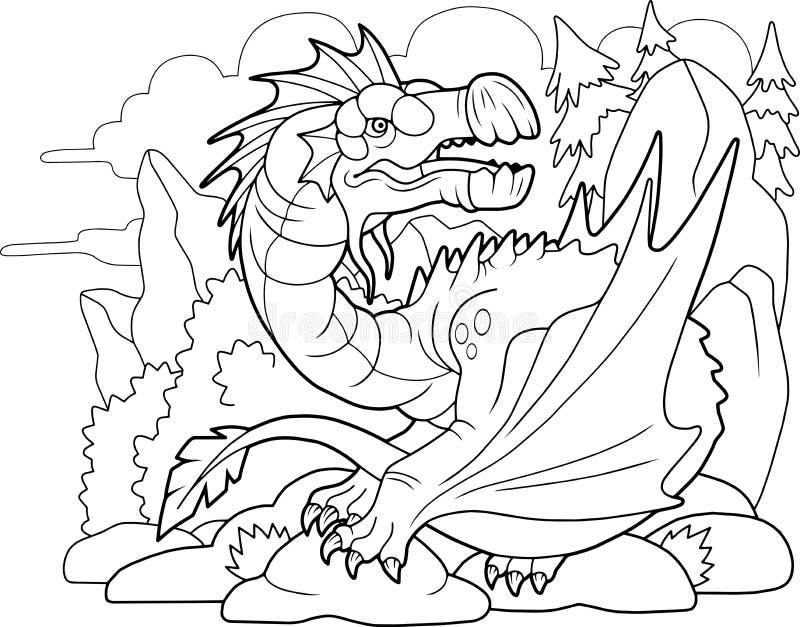dragón carnívoro, libro de colorear, ilustración divertida ilustración del vector