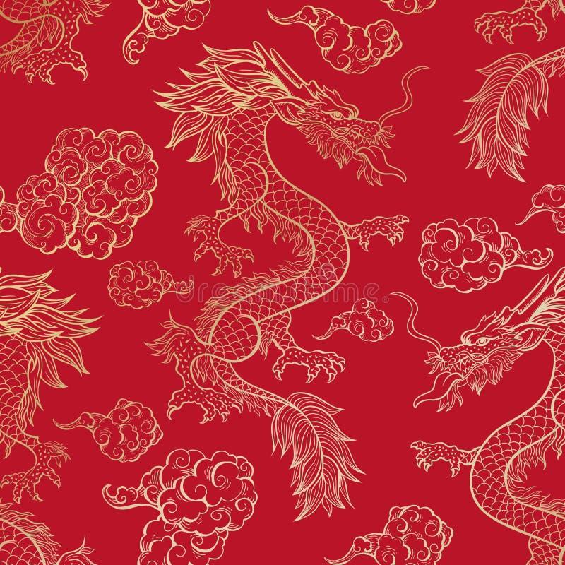 Dragón chino en modelo inconsútil del vector rojo ilustración del vector