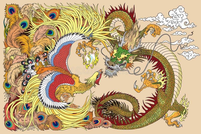 Dragón chino y Phoenix que juegan una perla ilustración del vector