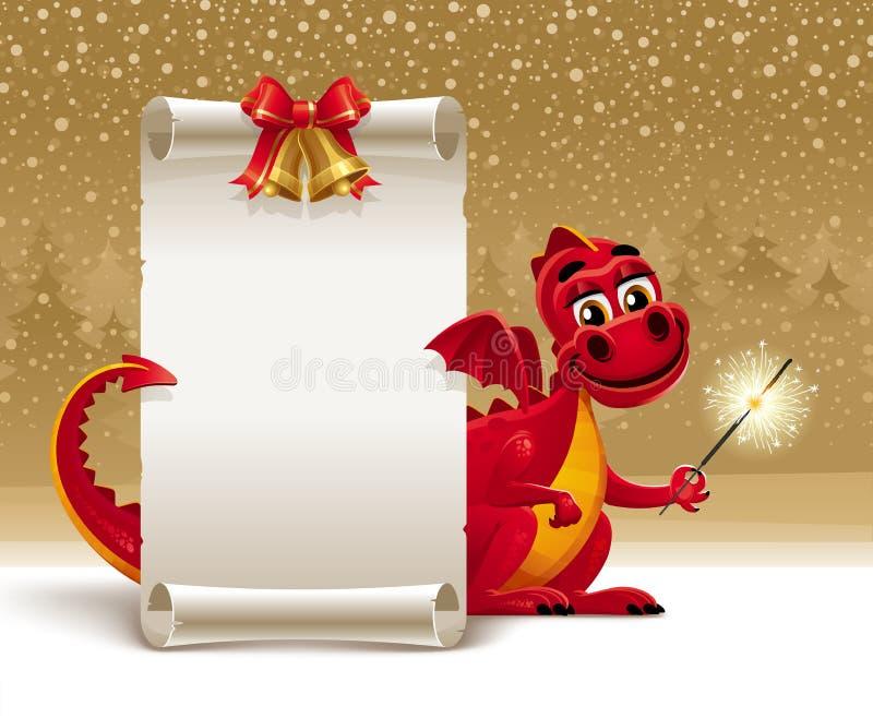 Dragón con un desfile del sparkler y del papel ilustración del vector