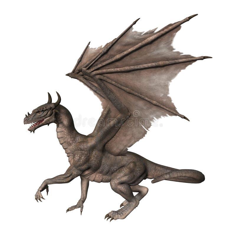 dragón de la fantasía de la representación 3D en blanco stock de ilustración