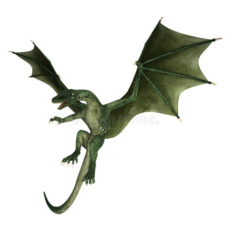 dragón de la fantasía del ejemplo 3D en blanco stock de ilustración