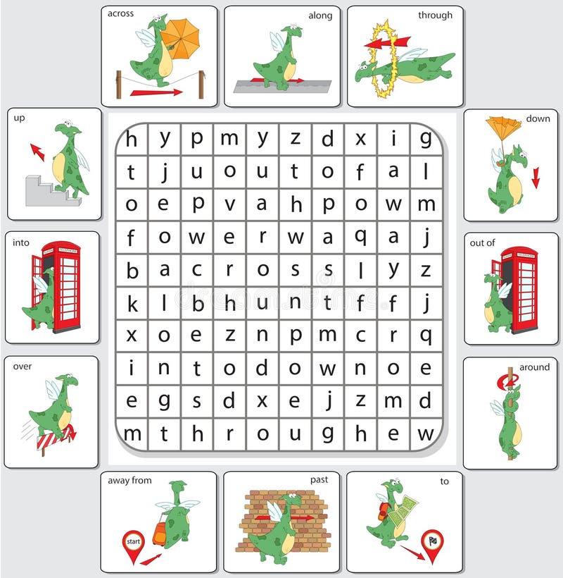Dragón de la historieta Gramática inglesa en imágenes stock de ilustración