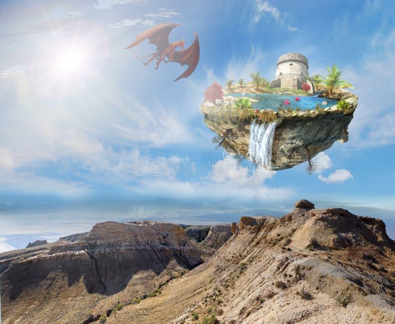 Dragón de la isla que vuela sobre un paisaje de la montaña stock de ilustración