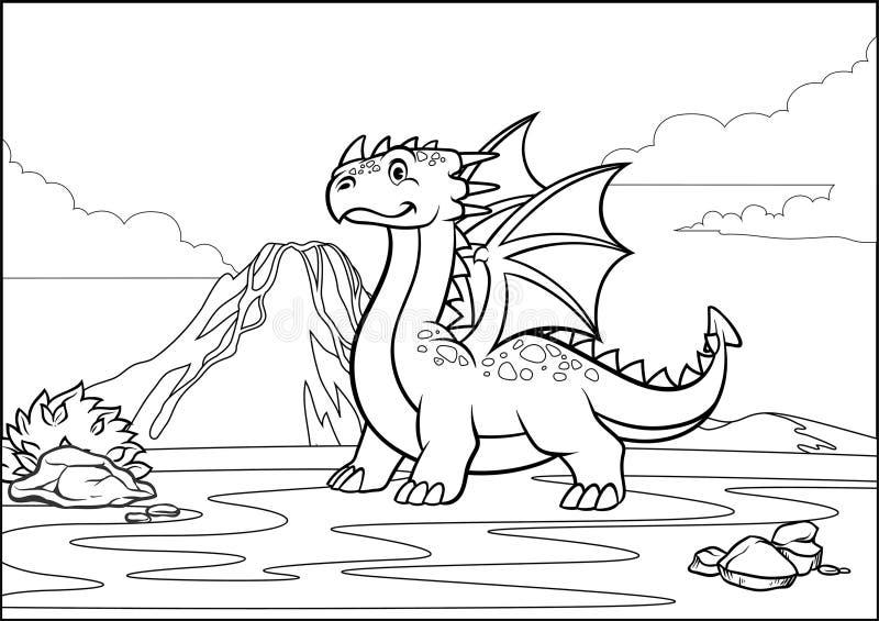 Dragón de la página y montaña blancos y negros del volcán que colorean ilustración del vector