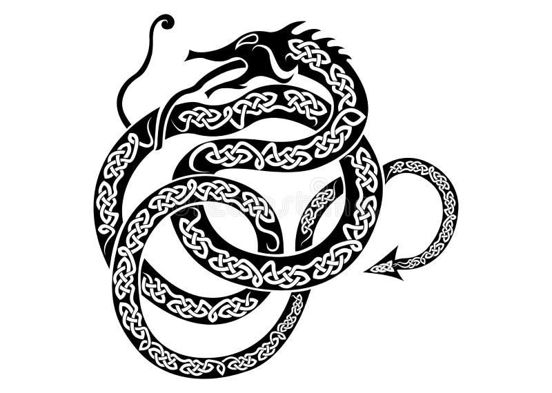 Dragón de los nórdises de Jörmungandr ilustración del vector