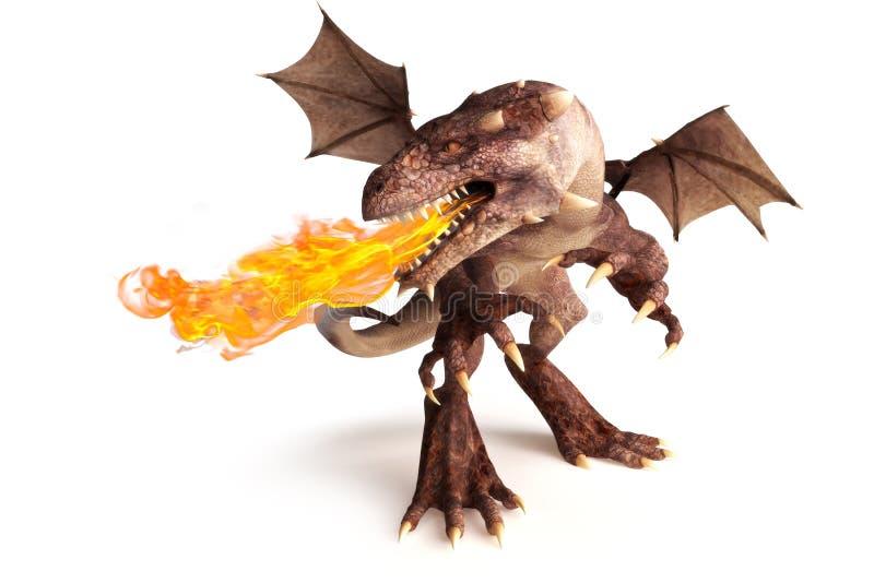 Dragón de respiración del fuego en un fondo blanco. stock de ilustración