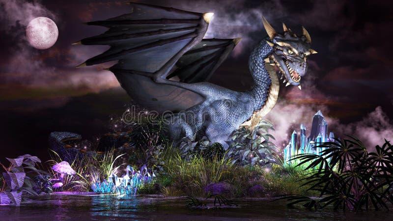 Dragón del azul del cuento de hadas ilustración del vector