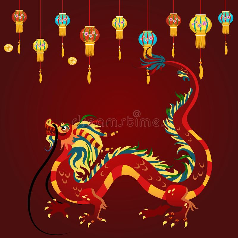 Dragón del chino tradicional, símbolo antiguo del asiático o cultura de China, decoración para la celebración del Año Nuevo, mito ilustración del vector