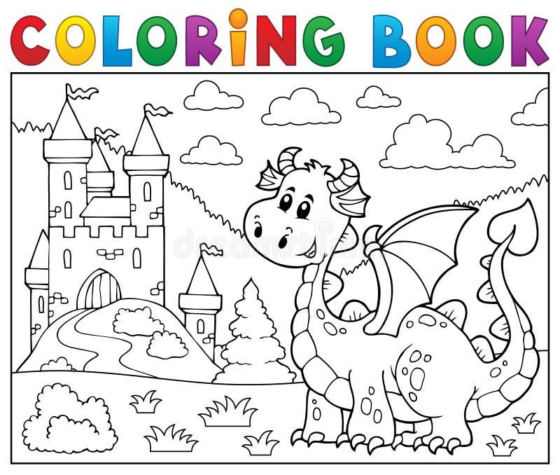 Dragón del libro de colorear cerca del tema 1 del castillo stock de ilustración