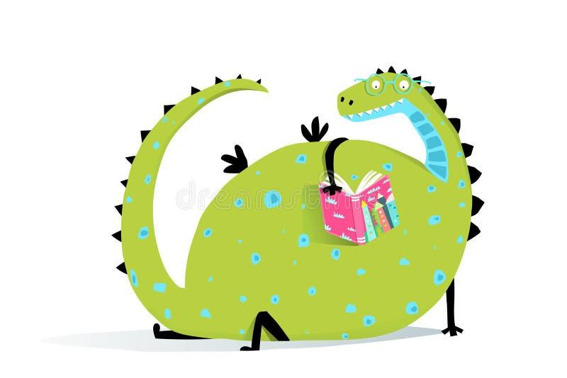 Dragón del libro de lectura stock de ilustración