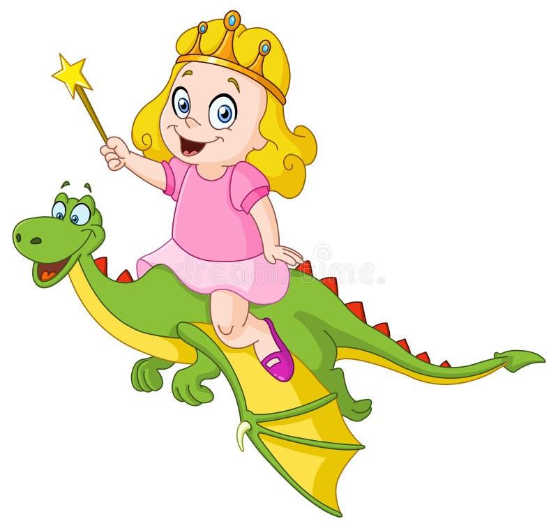 Dragón del montar a caballo de la princesa stock de ilustración