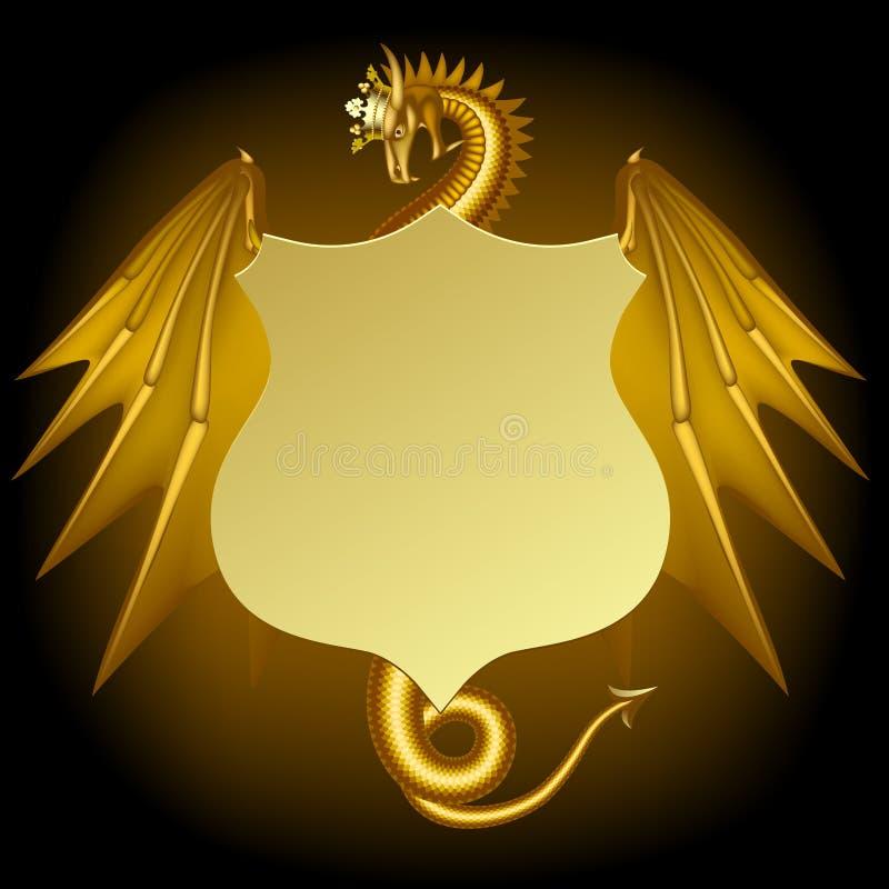 Dragón del oro en corona con una muestra del vintage en negro stock de ilustración