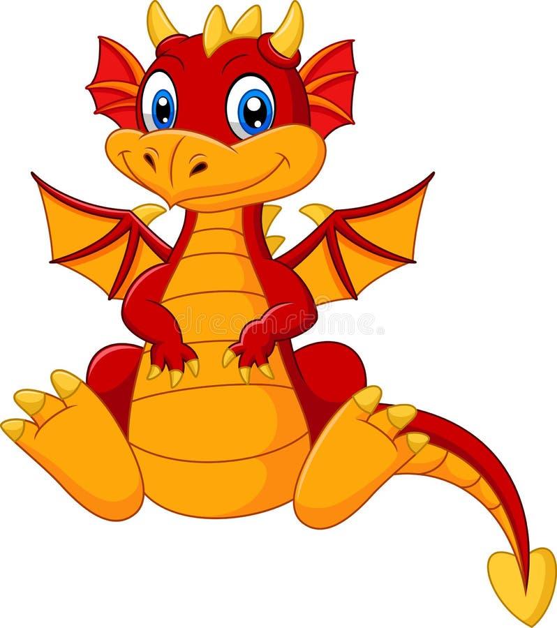 Dragón del rojo del bebé de la historieta stock de ilustración