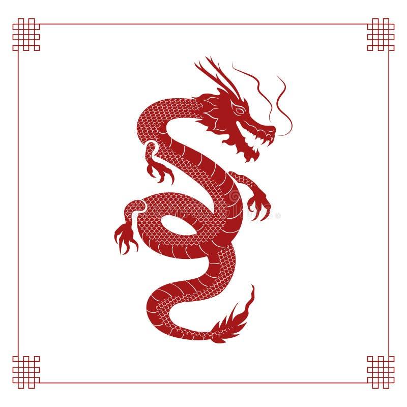 Dragón del vector, concepto asiático del Año Nuevo, mitología animal, fondo del vintage del estilo chino con las esquinas decorat libre illustration