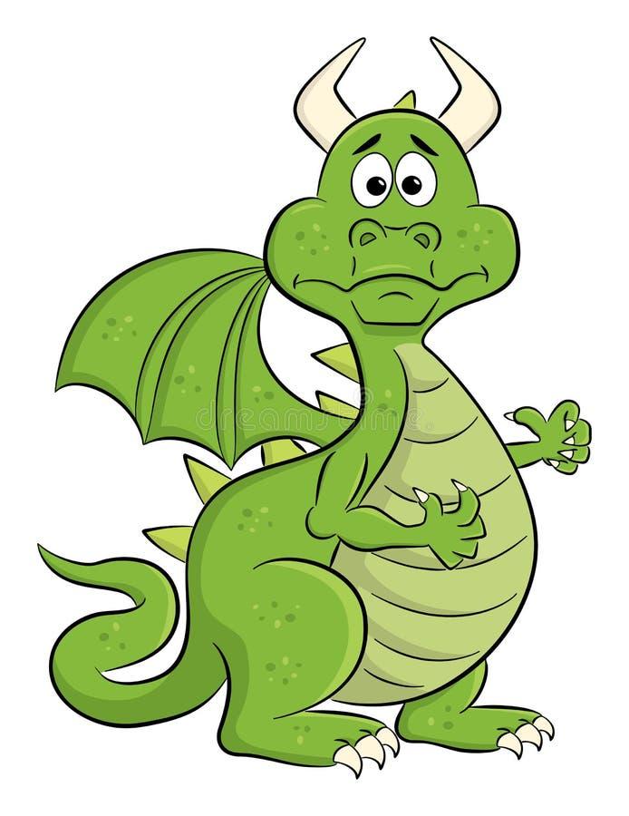 Dragón desconcertado de la historieta stock de ilustración