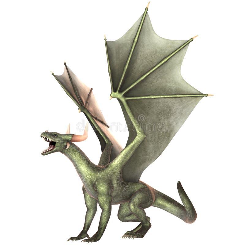 Dragón elegante aislado en el fondo blanco ilustración del vector