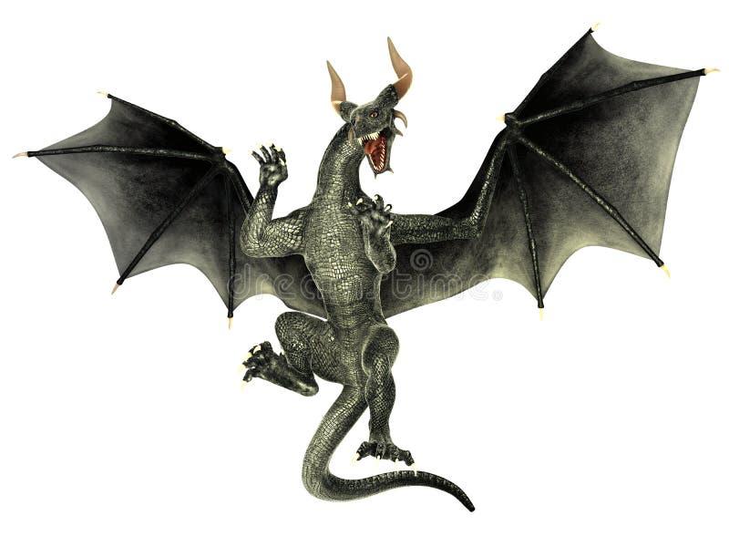 Dragón elegante aislado en el fondo blanco stock de ilustración