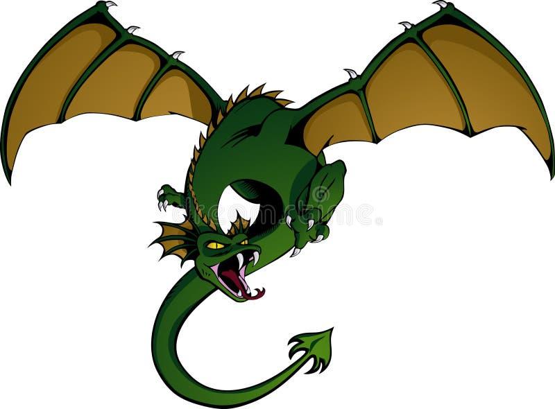 Dragón en vuelo ilustración del vector