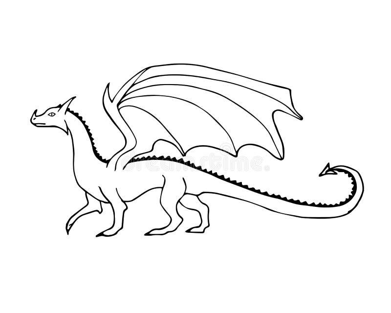 Dragón exhausto del garabato del bosquejo de la mano de la tinta del negro del vector ilustración del vector