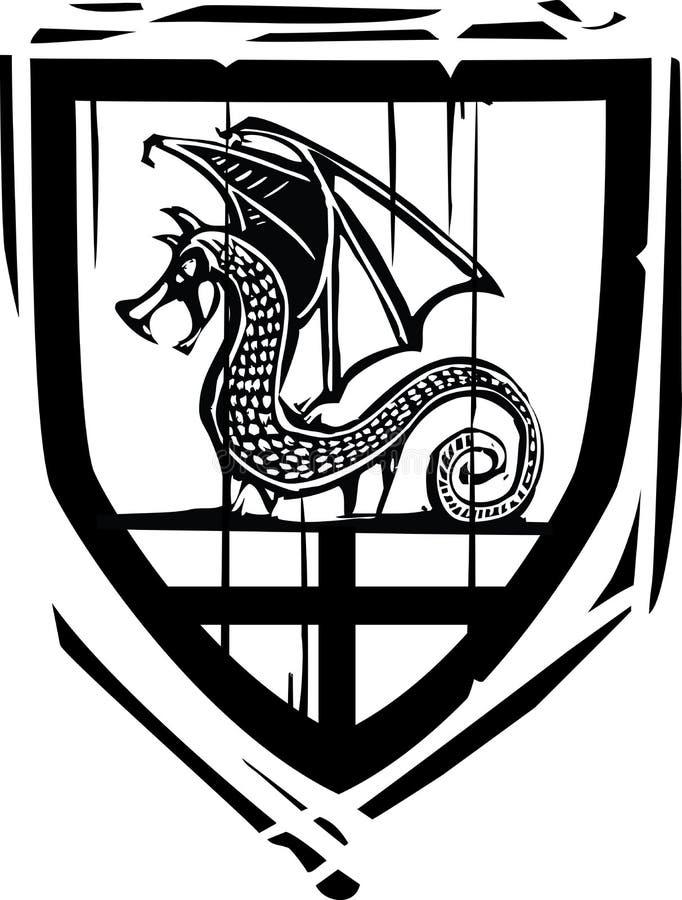 Dragón heráldico del escudo ilustración del vector