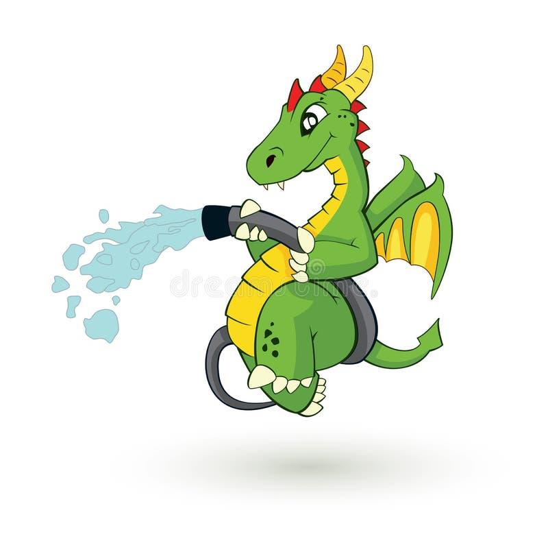 Dragón lindo del bombero stock de ilustración