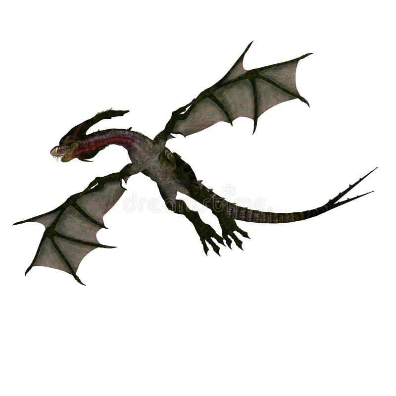 Dragón mítico de la fantasía con Forktail ilustración del vector