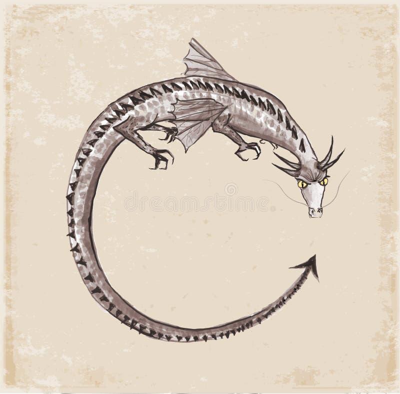 Dragón a mano con tinta libre illustration