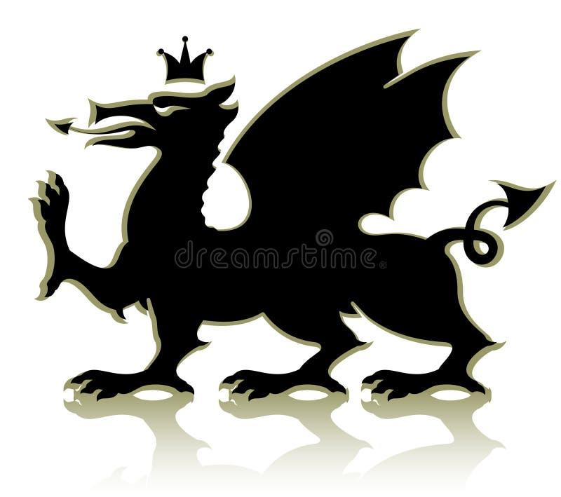 Dragón medieval heráldico stock de ilustración