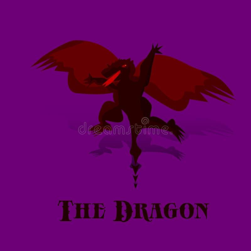 Dragón negro de la noche de la historieta con las alas rojas en vuelo, en b púrpura stock de ilustración