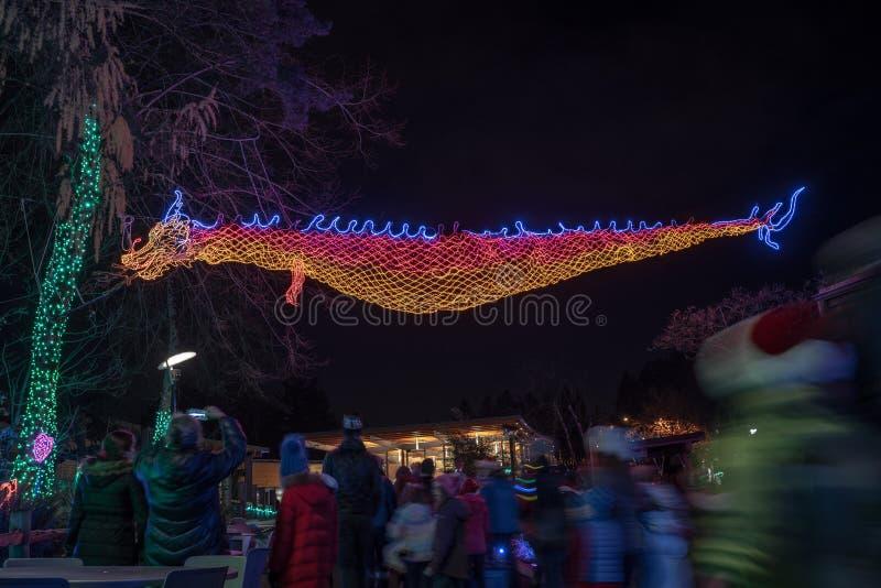 Dragón oriental hecho fuera de luces de la Navidad foto de archivo libre de regalías
