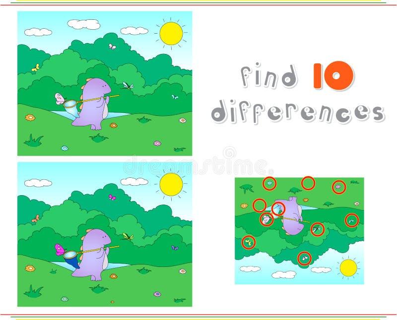 Dragón púrpura con la red para las mariposas Juego educativo para el niño stock de ilustración