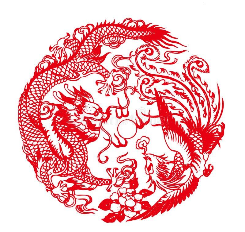 Dragón propicio y Phoe stock de ilustración
