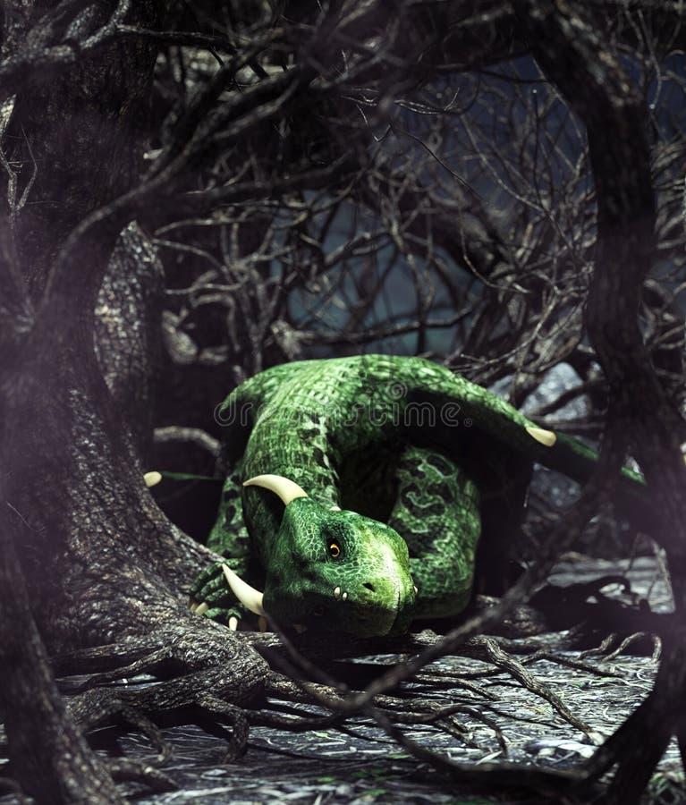 Dragón que descansa en bosque espeluznante libre illustration