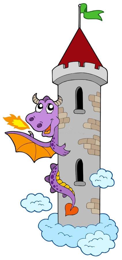 Dragón que está al acecho con la torre del castillo
